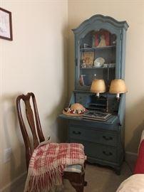 Vintage Blue Secretary Desk