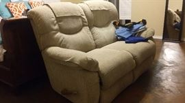 Recliner sofa for two.