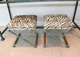 SOLD--Lot #101, Pair of Iron & Bamboo Stools with Zebra Cushions, Verdigris Finish, $350