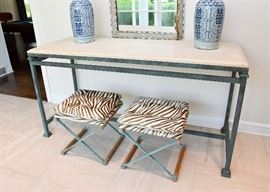 BUY IT NOW!  Lot #100, Large Iron & Travertine Console Table, Verdigris Finish (Stools Sold Separately), $600