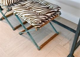 SOLD--Lot #101, Pair of Iron & Bamboo Stools with Zebra Print Cushions, Verdigris Finish, $350