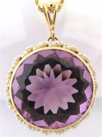 Estate Amethyst and Seed Pearls in 14K gold