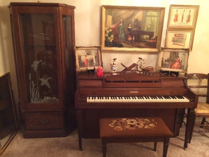 Baldwin Upright Piano, Marguerite Pearson Prints, Music Themed Prints, Music Décor, Glass Front Gun Cabinet,