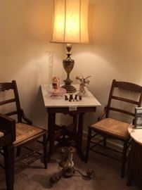 Eastlake Chairs, Victorian Marble Top Lamp Table