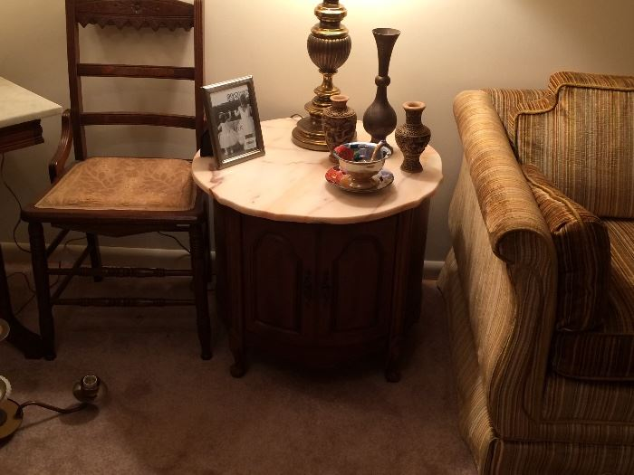 Vintage Marble Top Round End Table