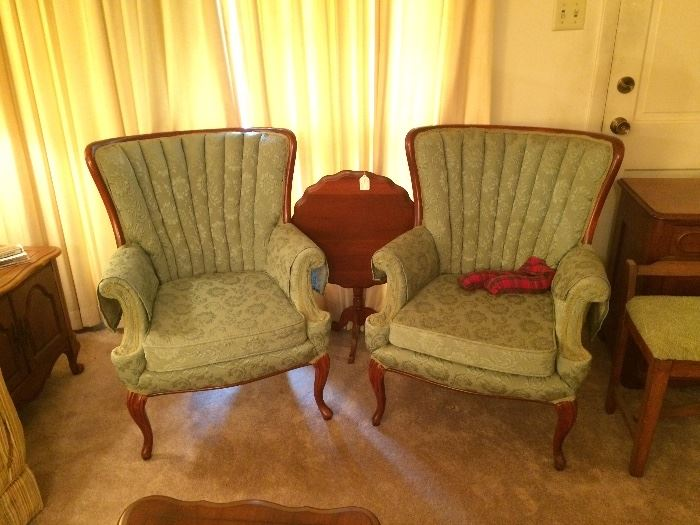 Green Upholstered Victorian Style Chairs, Walnut Tilt Top Table