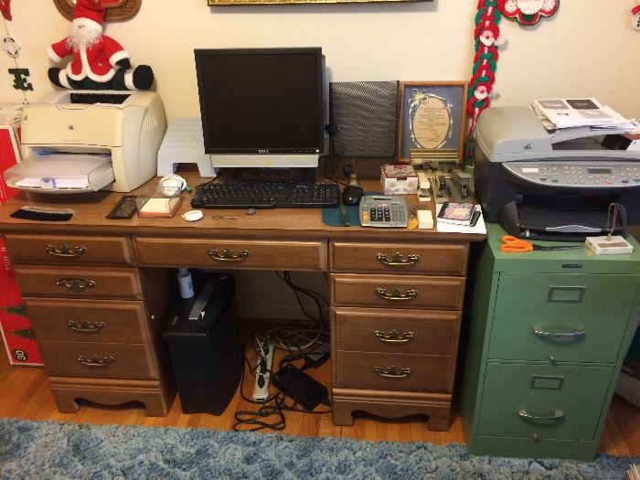 Vintage Desk, Dell Computer, Laser Printer, HP Printer, Office Supplies