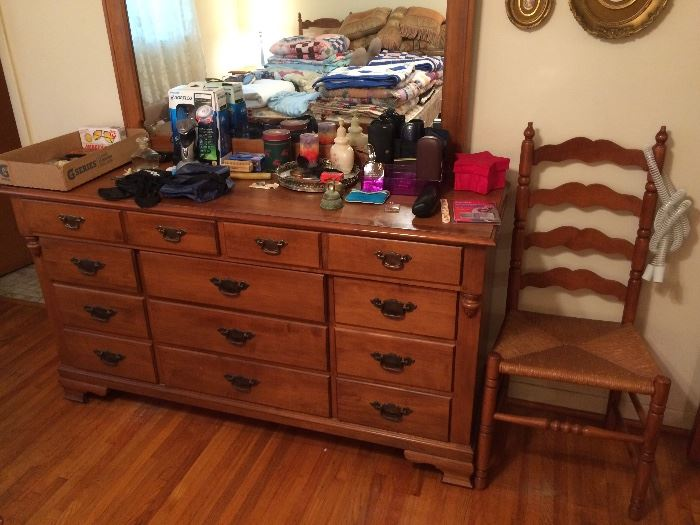 Tell City Maple Dresser w/ Mirror, Ladder Back Chair