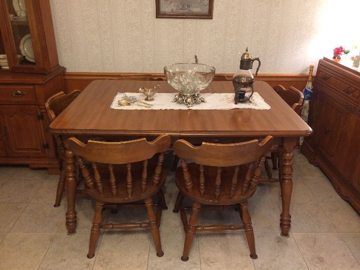 Vintage Maple Dining Table, Punch Bowl Set