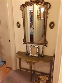 Gold Framed Mirror, Hall Table
