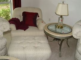 Easy chair with Ottoman and side table heavy metal with glass cut glass lamp