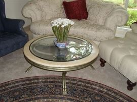 Coffee table - heavy metal with glass