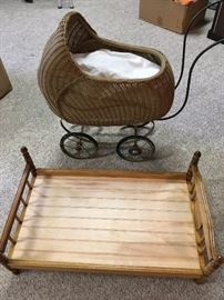 child's doll buggy and bed