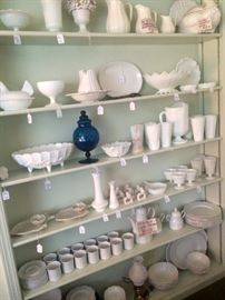 Large Collection of English Ironstone and American Milk Glass