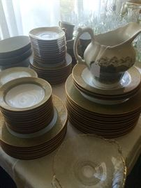 Large set of formal Sango China and an adorable Staffordshire milk pitcher