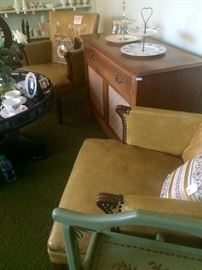 Pair of Vintage Club Chairs with nailhead details and a Philco Stereo Console