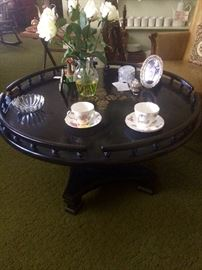 "Wonderful Hitchcock style ""lazy Susan"" coffee table"