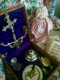 "Preist's ""Sick Box"", China dolls, vintage first communion memorabilia"
