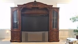 "Michael Amini Toscana 3 piece Entertainment Center & 60"" Hitachi Projection TV"