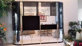 Black Mirrored with Glass 4 piece Entertainment Center