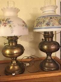 early Kerosene lamps--1 electrified