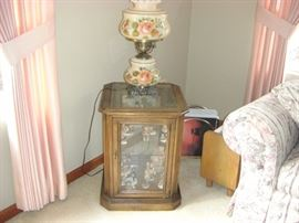 Glass Front End Table $50.00    Lamp $20.00