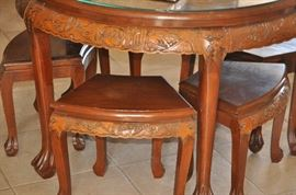 Oriental Carved Table with bench seats