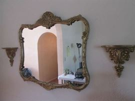 1930's Rococo mirror and sconces