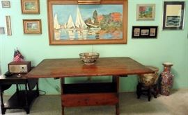 19th century pine tilt-top table/bench.