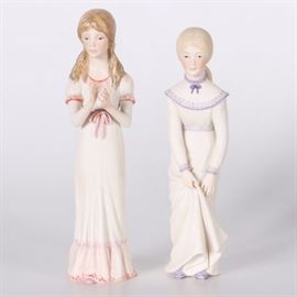 "Cybis ""Edith"" and ""Allegra"" Porcelain Figurines: A pair of hand painted porcelain figurines titled Edith and _Allegra_by Cybis. They were introduced in 1978 as part of the The Children's Hour collection based on the Longfellow poem of the same name. Each depicts a young girl in period dress and both are marked ""Cybis"" on the underside."