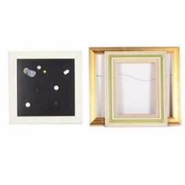 Art Frames and Magnetic Chalk Board: A group of frames and a magnetic chalk board. Included are two rectangular frames, one in a gold tone and one in a concentric pattern of white, pink and lime green. Also included is a square chalkboard with a white frame that included a variety of magnets attached to the board. No pieces are marked and the gold tone frame offers a wire to the reverse for hanging.