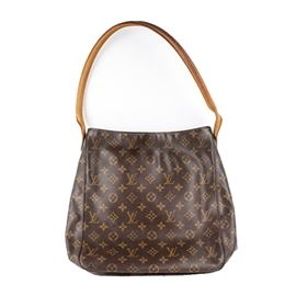 Louis Vuitton GM Looping Monogram Canvas Handbag: A Louis Vuitton GM Looping Monogram Canvas handbag. This bag features the classic monogrammed canvas with a single tan leather looped handle. The piece is finished with signature alcantara lining and interior pocketing. The date code reads SD0042.