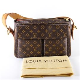 "Louis Vuitton Purse: A Louis Vuitton handbag. This bag features a rectangular shape with two front pockets and a long light brown leather strap. The bag features a dark brown leather construction with the iconic light brown repeating LV symbol. The bag features gold tone zippers and accents, a red interior, and a leather maker's mark reading ""Louis Vuitton Paris made in France."" The bag comes with the original dust cover. Serial number AR1024."