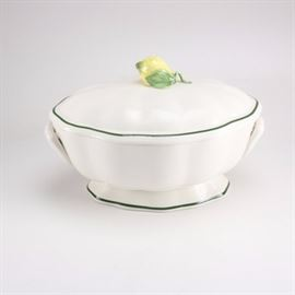 "Tiffany & Co. Italian Tureen: A Tiffany & Co. covered tureen. The pottery piece features a hand modeled and painted lemon on the lid as well as a green enameled border and applied handles. There are printed marks on the underside reading ""Tiffany & Co Este Caramiche Made in Italy Hand Painted."""