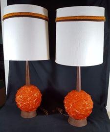 Mid Century Spun Fiberglass Table Lamps