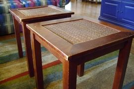 Pair of wooden coffee/cocktail tables measure 18x18.