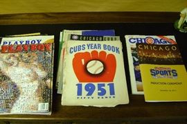 Old Playboy magazines from the 1970s and lots of mid-century Cubs yearbooks and official programs.