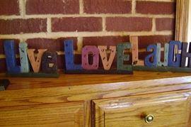 3 piece Live Love Laugh mantle decoration.
