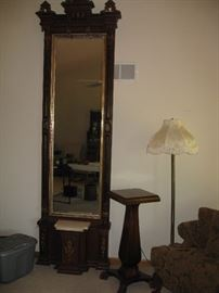 Fabulous peer mirror!  Approximately 11' tall with a marble topper on the seat below.