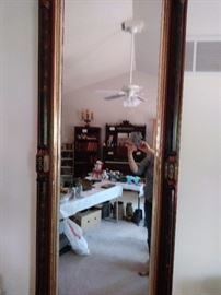 Large pier mirror ornate center-side accents