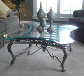Formal cocktail table, decorative accessories