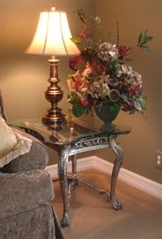 End table, Stiffel lamp, floral arrangement