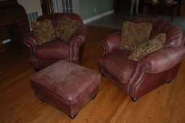 Brown Leather Chairs with Ottoman