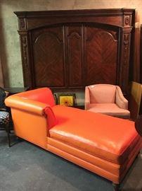 Orange vinyl chaise lounge