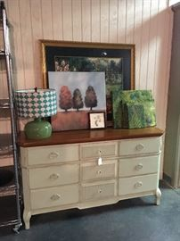 Pale green chest of drawers with wooden top & mirror