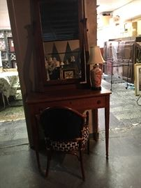 small antique dressing table and mirror