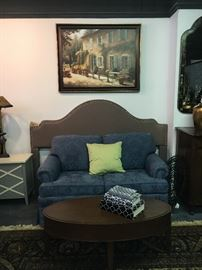 Blue love seat, oval coffee table