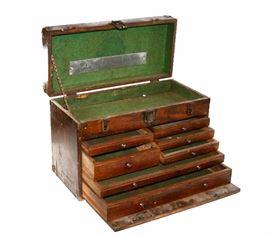 Antique Star Chest Machinist Oak Tool Box Chest