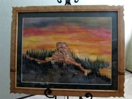 "Dennis Downes – Original signed watercolor and custom signed birds eye maple frame – ""Sedona"""