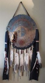 "Native American Shield Shoshone – ""Sundance Visions"" , Genuine work  by artist Geyata Ajilvsgi maker of Traditional Plains Shields, provenances are included"